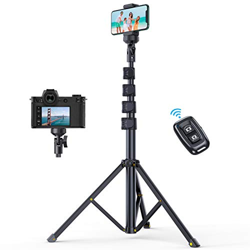 Andobil 61″ Phone Tripod Stand (with Bluetooth Remote), Extendable Selfie Stick Tripod with Flexible Phone Holder Compatible iPhone 12 Pro Max/11/X/8, Samsung S21/S20, Camera, Lightweight & Heavy Duty