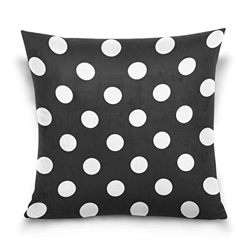 LEISISI Black-And-White-Polka-Dot-Background-Clipart Throw Pillow Case Cushion Cover Pillowcase -