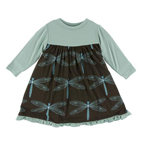 Kickee Pants Little Girls Print Classic Long Sleeve Swing Dress - Giant Dragonfly, 6-12 Months