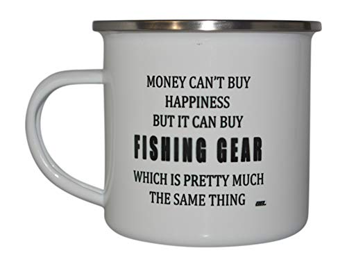 Funny Fishing Camp Mug Enamel Camping Coffee Cup Gift Money Happiness Fishing Gear Fisherman ()