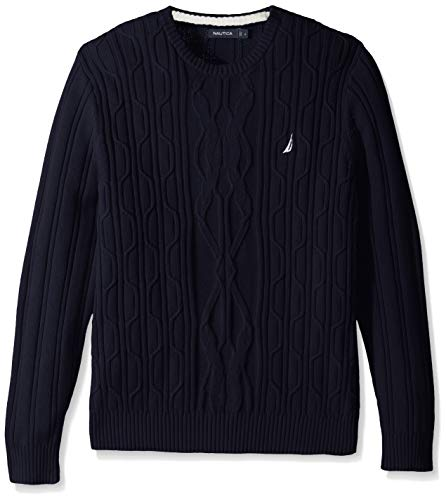 Nautica Men's Crewneck Cable Sweater, Navy, Small (Cable Crewneck Mens)