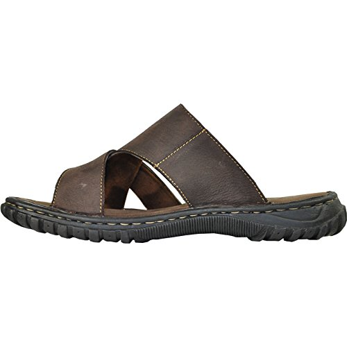 Sandalo Uomo In Pelle Kozi New Diego-01 Open Toe Con Dettagli Strappy Marrone 12m