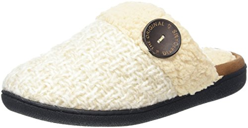 Dearfoams WoMen Textured Knit Closed Toe Scuff Open Back Slippers Off-white (Oatmeal Heather)