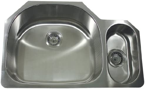 Nantucket Sinks NS04-16 32-Inch Double Bowl D-Bowl Undermount Stainless Steel Kitchen Sink