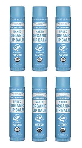 Dr. Bronner's Organic Lip Balm - Naked, 0.15oz. (6 (Bronners Sundogs Magic)