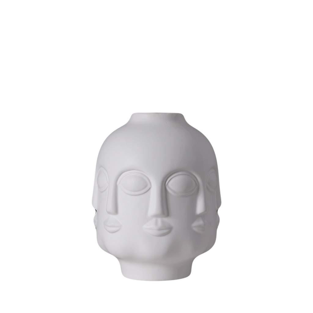 MAHONGQING 花瓶クリエイティブフェイスセラミック花瓶彫刻マットホワイト挿入花瓶装飾リビングルームホームソフト装飾家具 (Size : M) B07RXWWXZ3  Medium
