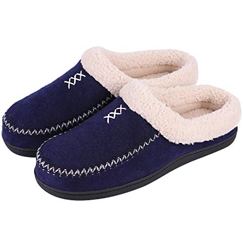- Men's Cozy Memory Foam Micro Woolen Plush Fleece Slippers Slip On Clog House Shoes w/Hand-Craft Woven Trim (US Men's 7-8, Navy Blue)