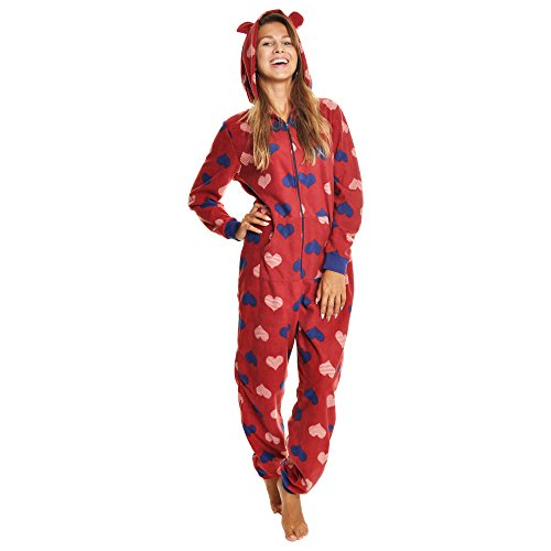 Angelina Women's Fleece Novelty One-Piece Hooded Pajamas, 1Z_STRHRT_SM