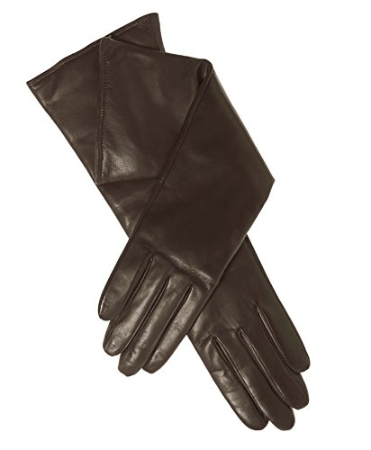 Fratelli Orsini Women's Italian ''6 Button Length'' Cashmere Lined Leather Gloves Size 8 Color Brown by Fratelli Orsini