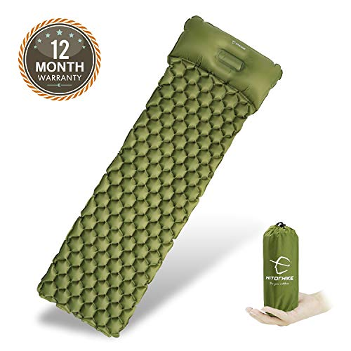 Sleeping Mats Bag - Hitorhike Backpack Sleeping Pad | Lightweight Camping Sleeping Bag Pad | Ultralight & Compact & Inflatable Air Mattress Pad-Insulated Air Mat | for Camp,Backpacking,Hiking,Scouts,Travel(Green)