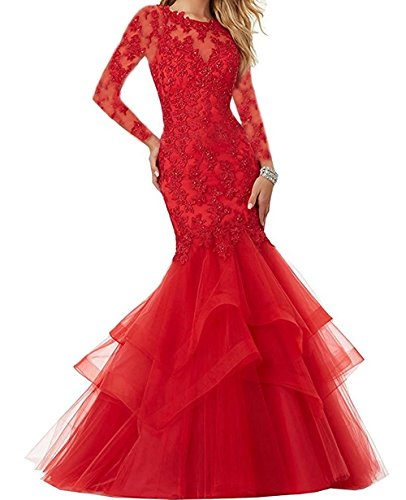 Terani Special Occasion Dress - Bonnie Beaded Lace Embroidered Prom Dresses 2018 Long Sexy Mermaid Formal Ball Gown with Long Sleeves BS014