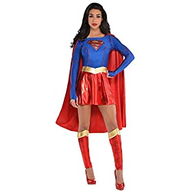 Costumes USA Superman Supergirl Costume for Adults, Includes a Dress with an Attached Cape and Leg Warmers