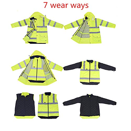 GSHWJS- trash can Reflective Cotton Coat High Speed Traffic Warning Duty Safety Jacket, Green Reflective Vests (Size : XXL) by GSHWJS- trash can (Image #7)