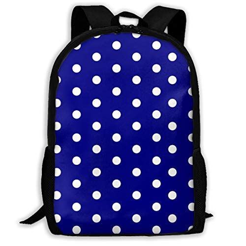 White Blue Dots Polka Hexagon Navy.png Travel Hiking Lightweight Mens Womens Unisex Computer Gaming Laptop Backpack,Boys Girls School Book Bag
