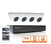 LaView HD 720P 4 Camera Security System, 4 Channel 720P HD-TVI Analog DVR w/ 1TB HDD and 4 720P HD White Dome Turret Surveillance Cameras