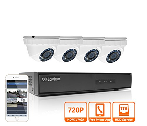 Cheap LaView HD 720P 4 Camera Security System, 4 Channel 720P HD-TVI Analog DVR w/ 1TB HDD and 4 720P HD White Dome Turret Surveillance Cameras