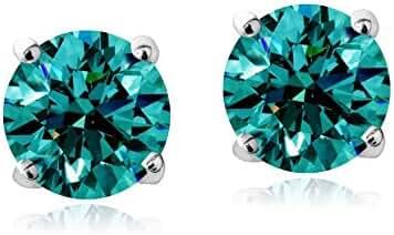 Silver Tone Birthstone Crystal Stud Earrings with Swarovski Elements