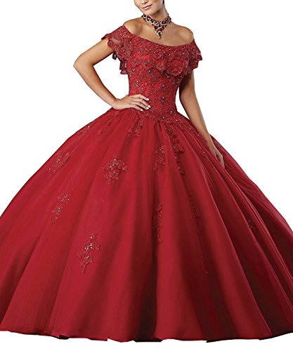 (Meledy Women's Gorgeous Beaded Lace Off The Shoulder Quinceanera Dresses Ball Gowns Sweet 16 White Appliques Prom Gown Burgundy US4)