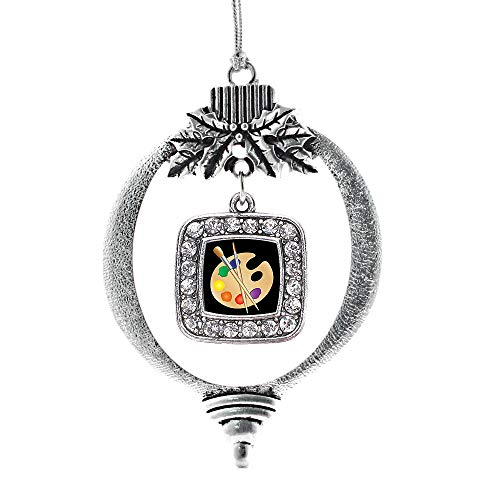 Inspired Silver - The Artist Charm Ornament - Silver Square Charm Holiday Ornaments with Cubic Zirconia -