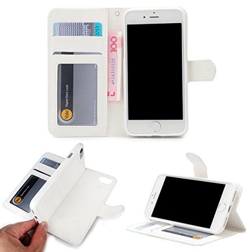 JIALUN-carcasa de telefono Funda de cuero de la caja de la PU de la caja de la bolsa con Kickstand & Lanyard y ranuras de tarjeta para el iPhone 7 ( Color : Black ) White