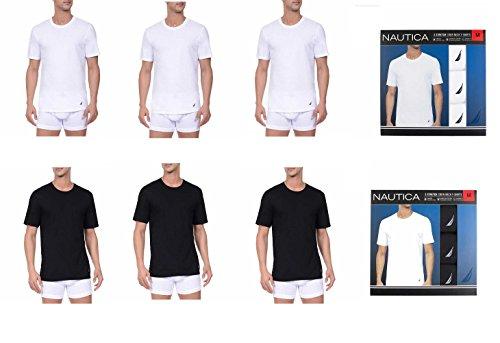 Nautica T-Shirt, Tagless, Crew Neck, Stretch, Super Soft Cotton, Classic Fit, With Logo 3 Pair