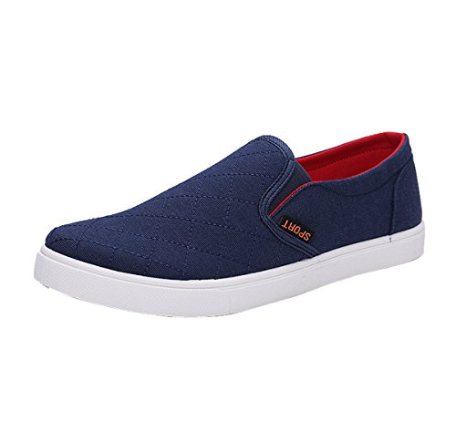 Gaorui Mens Canvas Pumps Slip On Deck Shoes Casual Sneakers Driving Loafers Comfortable Trainers Blue