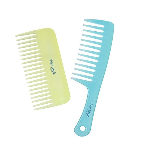 La Looks Wet Look - 2 Hair Wide Tooth Combs Fine Plastic Shower Beach Detangling Wet Dry Style New