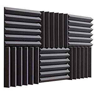 (6 Pk) Charcoal 2'x12'x12' Soundproofing Acoustic Studio Foam Wedge Style Panels Tiles - Top Quality - Ideal for Home & Studio Absorption Sound Insulation