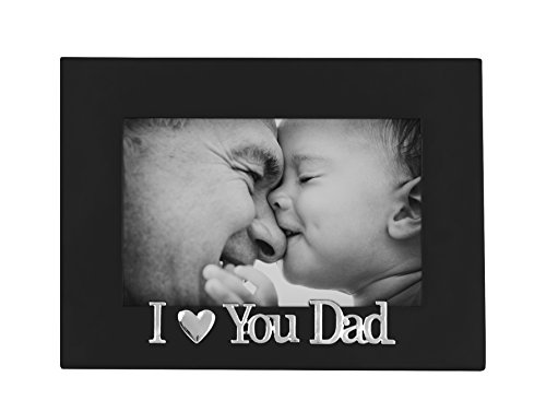 1 Dad Photo (I Love Dad Picture Frame, Glass Front - Color: Black - Fits Photos 4x6 - Easel Back for Table Top Display)