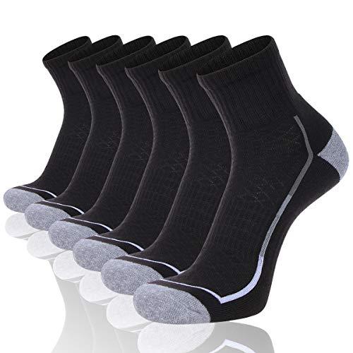 FLYRUN Men's Athletic Ankle Socks Men 6 Pack Thick Cushion Running Sock (Size 10-13)