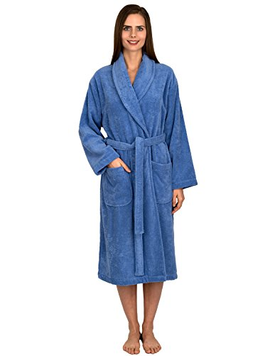 Organic Terry Robe (TowelSelections Organic Turkish Cotton Bathrobe Terry Shawl Robe for Women Small/Medium Cornflower Blue)