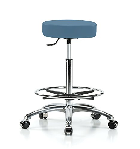 Perch Chrome Rolling Single Lever Height Adjustable Swivel Stool with Foot Ring for Hardwood or Tile Floors, Counter Height, Colonial Blue Vinyl