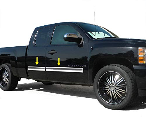 Made in USA! Works with 2007-2008 GMC Sierra Extended Cab Body Side Molding Full 4.25