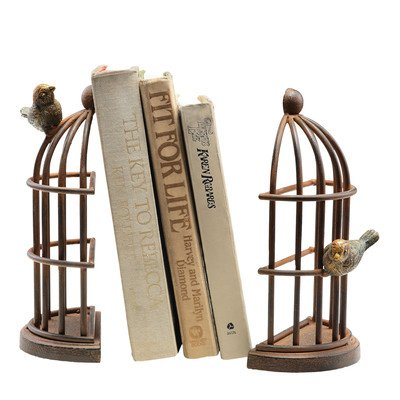 Bird Cage Book Ends with Two Birds (Set of 2)