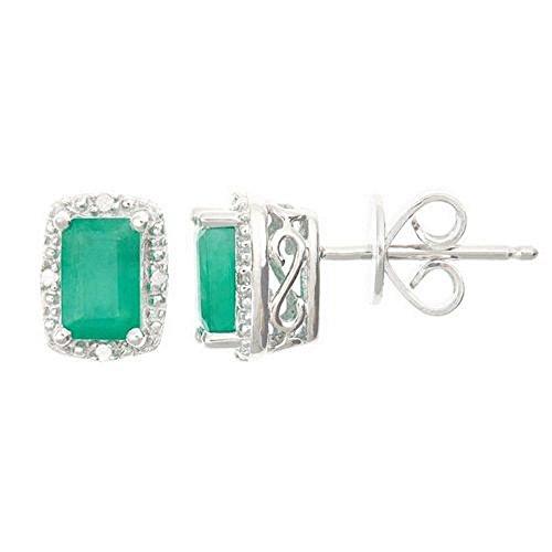 (925 Sterling Silver Emerald Cut Emerald & Diamond Halo Stud Earrings 6mm x 4mm)