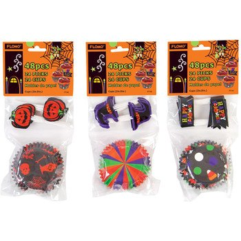 Flomo 1997204 Halloween Baking Cups & Matching Toothpicks - Case of 72