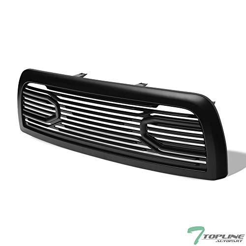 Topline Autopart Matte Black Big Horn Style Front Hood Bumper Grill Grille ABS with Shell For 10-18 Dodge Ram 2500/3500 / 4500/5500