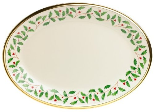 Lenox Holiday 13-Inch Gold-Banded Fine China Oval Platter