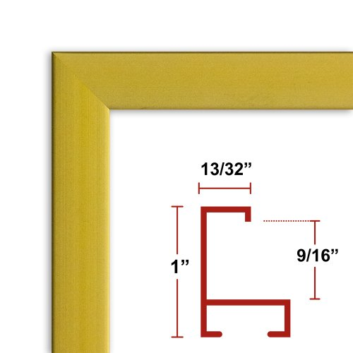 36 x 54 Satin Gold Poster Frame - Profile: #93 Custom Size Picture Frame by Poster Frame Depot