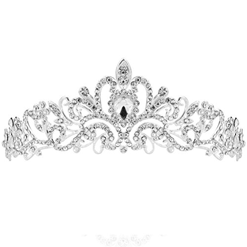 SUMERSHA Wedding Tiara Bridal Headband Rhinestones Pageant Princess Crown Decoration Silver Charming Hair Accessories for $<!--$6.99-->