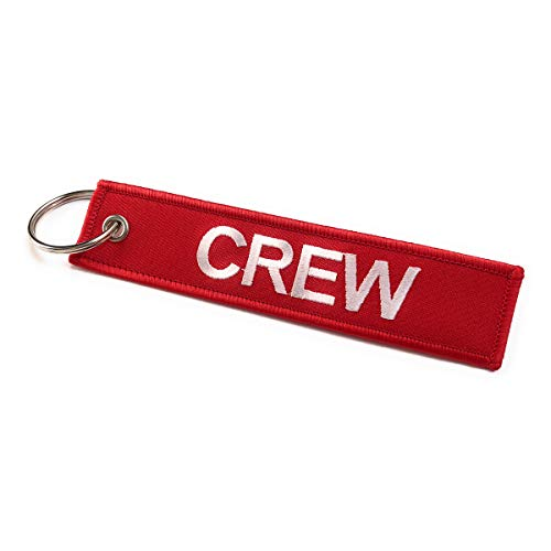 Crew embroidered luggage tag | Keyring | Multicolors (Red/White)