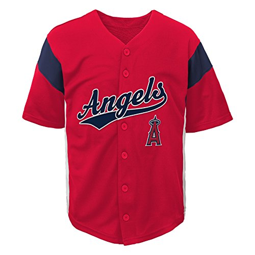 Outerstuff MLB Los Angeles Angels Boys Fashion Jersey, Athletic Red, 4/5