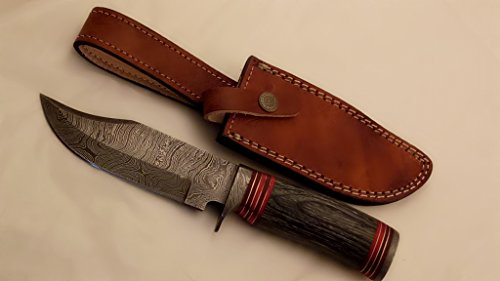NES-COL-05 10 inch Handmade Damascus Knife-Decorative Knives, Camping Survival Knife, and Hunting Knife with Leather Sheath