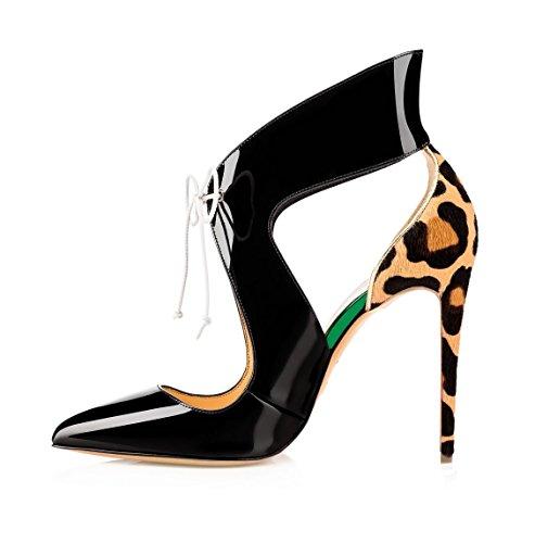 Stivaletti 12cm Sammitop Tallone Ritagli Dell'alto Avvolgere Pompe Stiletto Leopardo Delle Scarpe Donne q004FHx