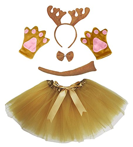 Petitebella Brown Reindeer Xmas Headband Bowtie Glove Skirt Girl 5pc Costume (One Size) Girls Reindeer Costume