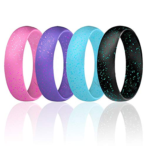ROQ Silicone Wedding Ring for Women, Set of 4 Affordable Comfort Fit 6mm Love Metallic Silicone Rubber Wedding Bands - Light Blue, Teal, Purple, Pink, Light Pink, Black & Turquoise - Size 4 -