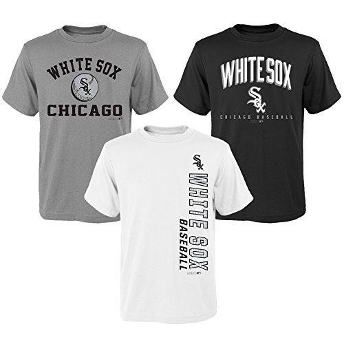 MLB Youth Boys 8-20 White Sox 3Piece Tee Set, L(14-16), Assorted (Sox Tee White)