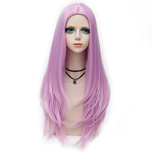 Probeauty Miss Young Collection Lolita Natural Wavy Hair Long Synthetic Cosplay Wig+Cap (Light Purple F9)