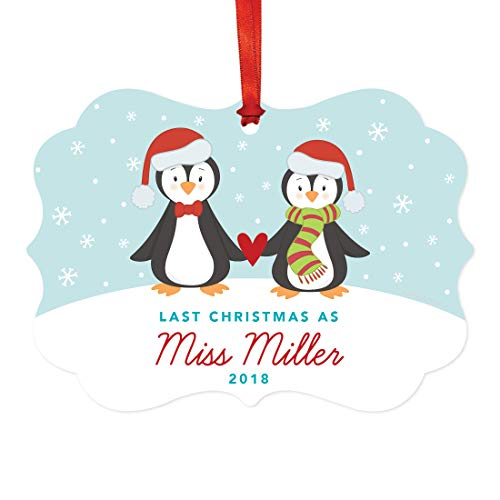 Andaz Press Personalized Wedding Engagement Fancy Frame Christmas Keepsake Ornament, Last Christmas as Miss Miller 2019, Winter Penguin Family, 1-Pack, Includes Ribbon and Gift Bag, Custom Name ()