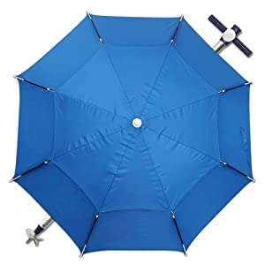 Sombrilla Playa/Jardín Ø 200 cm Antiviento, mástil Aluminio, Parasol para terraza, Altura Ajustable, Jardín, Camping Piscina, Inclinable Plegable 360° Giratoria antiviento (Azul)